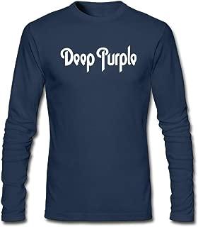 Hefeihe DIY Deep Purple Band Logo InRock Men's Long-Sleeve Fashion Casual Cotton T-Shirt