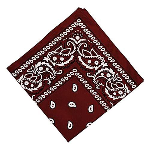 Sharplace Mujeres Hombres 100% Algodón Bandana Estampado a Doble Cara Bufanda Envoltura para La Cabeza Diadema - Rojo vino, unico