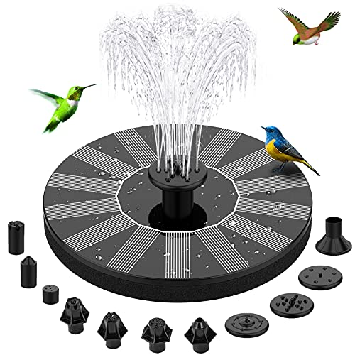 Solar Bird Bath Fountain Pumps - BHY Solar Water Fountain with 10 Nozzles and 4 Fixers, Floating Solar Powered Fountain Pump for Garden, Pond, Outdoor