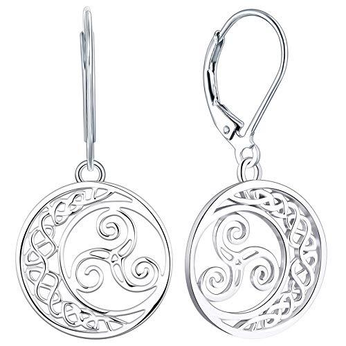 YL Celtic Knot Earrings 925 Sterling Silver Triskele Dangle Drop Earrings 18k White Gold Triskelion Moon Leverback Jewelry for Women