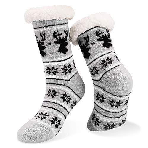 Emooqi Calcetines de estar por casa, Forro Polar Calcetines Inicio Calcetines Casuales Antideslizantes Calcetines Térmicos Cómodos y Transpirables para el Invierno Uso Diario