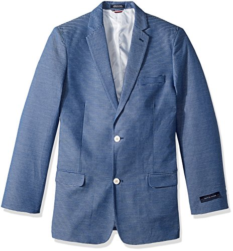 Tommy Hilfiger Boys' Big Striped Blazer Jacket, Dark Blue, 20