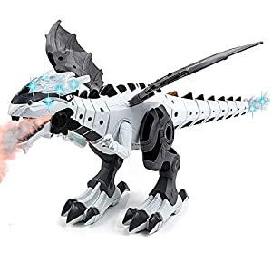 Toysery Mist Spray Dinosaur Robot Toy for Kids - Walking Dinosaur Fire Breathing Water Spray Mist with Red Light & Realistic Sounds (Colors May Vary)