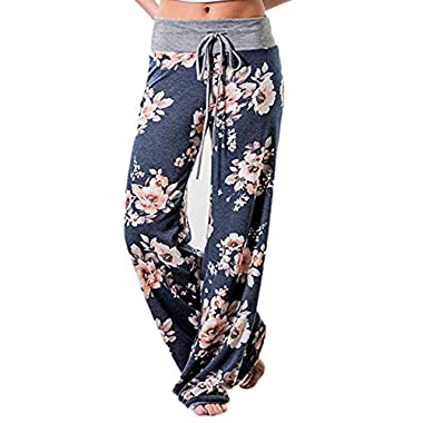 iChunhua Women's Comfy Stretch Floral Print Drawstring Palazzo Wide Leg Lounge Pants(M,Blue)