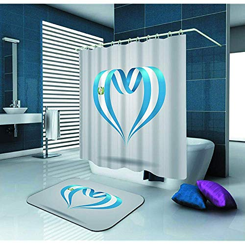 Cortina de ducha Bandera de Guatemala Cinta en forma de corazón Cortina de ducha impermeable de tela de poliéster (72