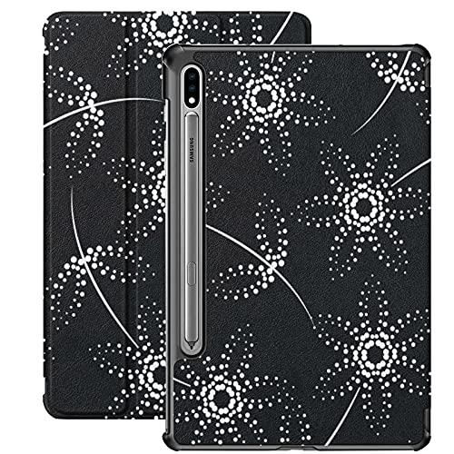 Funda para Galaxy Tab S7 Funda Delgada y Liviana con Soporte Funda para Samsung Funda para Galaxy Tab S7 Tablet 11 Pulgadas Sm-t870 Sm-t875 Sm-t878 2020 Release, Punto Blanco y Negro con Flores