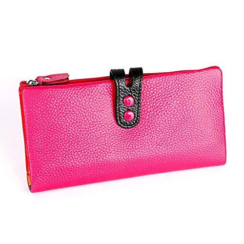Bolsa MMGZ 3572 del Cuero de la Cremallera Litchi Textura señora Wallet Monedero de Gran Capacidad (Negro) (Color : Rose Red)
