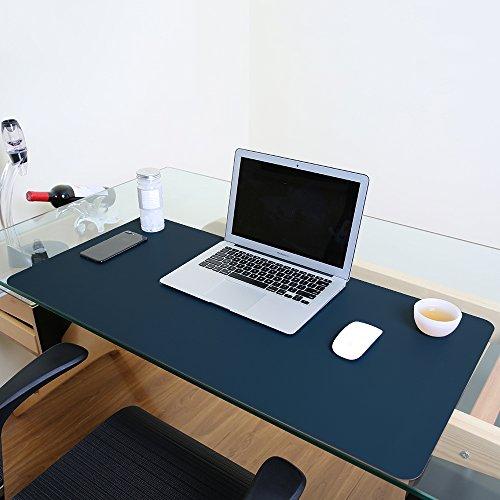 Schreibunterlage, wasserdicht, Kunstleder, ideal als Mauspad, glatte Schreibunterlage, Schutzfolie für Büro und Zuhause, rechteckig L blau