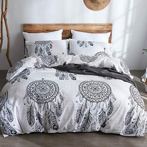 LAMEJOR Duvet Cover Set Twin Size Bohemian Dreamcatcher Pattern Luxury Soft Bedding Set Comforter Cover (1 Duvet Cover+2 Pillowcases) White