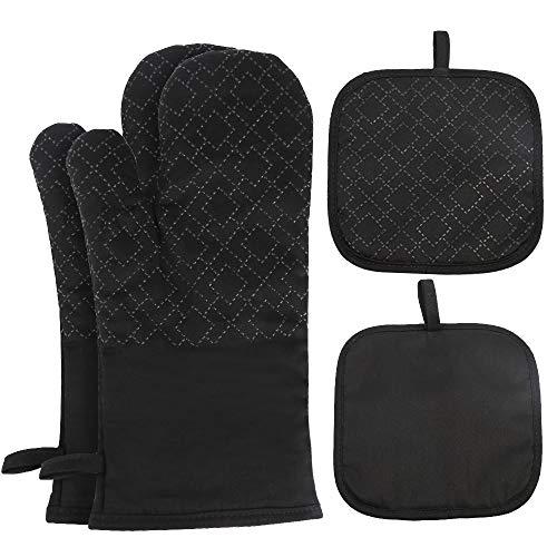 Vegena Ofenhandschuhe und Topflappen Set, Topfhandschuhe aus Silikon und Baumwolle Hitzebeständige Anti-Rutsch für Kochen, Backen, Grillen Schwarz