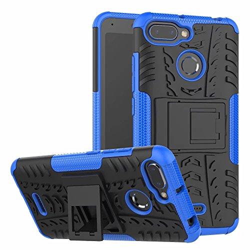 LAGUI Funda Adecuado para Xiaomi Redmi 6 / 6A, Carcasa Viene con Pestaña de Apoyo, Robusta Caja Híbrida TPU/PC de Doble Capa, Resistencia a Las Caídas Golpes y Arañazos. Azul