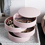 Storage ShelfJewelry Storage Box 4-Layer Rotatable Jewelry Accessory Storage Tray with Lid (Pink)