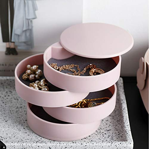 Jewelry Storage Box 4-Layer Rotatable Jewelry Accessory Storage Tray with Lid - Necklace Ring Storage Organizer Multi-Layer Finishing Box Cabinet Gift Case for Women (Pink)