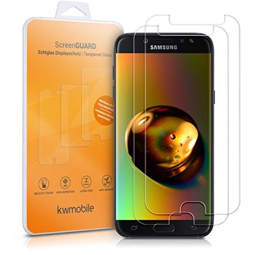 kwmobile 2X Folie kompatibel mit Samsung Galaxy J7 (2017) DUOS - Glas Handy Schutzfolie - Full Screen Bildschirm Schutz (Kleiner als das Bildschirm)