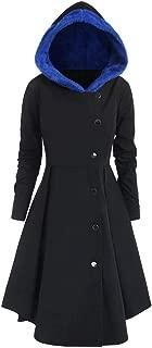 Womens Plus Size Hooded Coats Jackets Asymmetric Faux Fleece Single Breasted Long Drape Buttons Coat