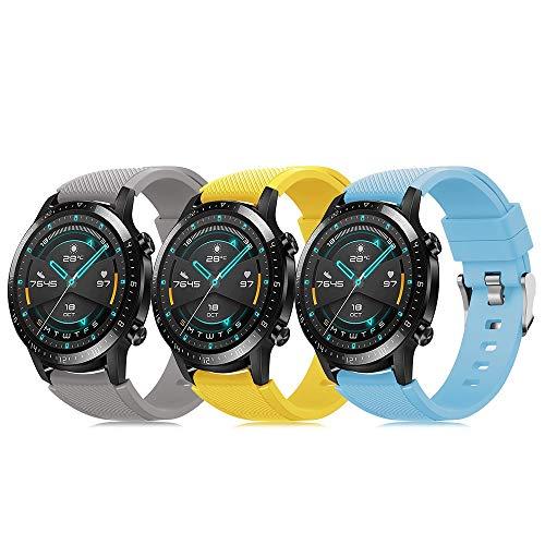 Juego de 3 pulseras 22 mm compatibles con Huawei GT 2 Samsung Galaxy Watch 46 Gear S3 correa reloj silicona suave cierre rápido, correas deportivas transpirables DE71003 (color 4-6)