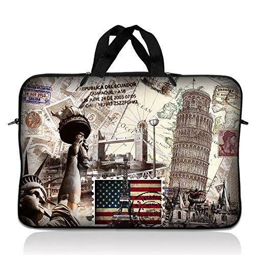 LSS 17-17.3' Laptop Sleeve Bag Compatible with Acer, Asus, Dell, HP, Sony, MacBook and More | Carrying Case Pouch w/Handle,World Landmarks