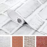 Coavas Brick Wallpaper Peel and Stick White 17.5x118.1 Inches for Bedroom Faux Brick Kitchen Cabinets Backsplash Fireplace Laundry Room Accent Walls Classroom Thicker Thicken Halloween (44.5x300cm)