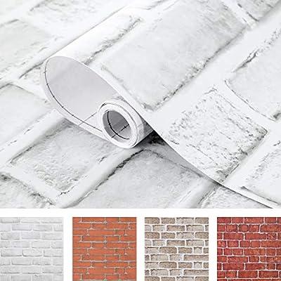 Amazon - Save 50%: Coavas Brick Wallpaper White 17.7×196.6 Inches Self-Adhesive Peel and St…