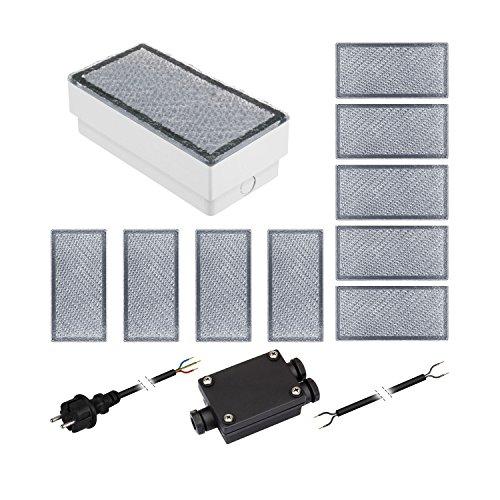 parlat 10er-Set LED Pflasterstein CUS Bodenleuchte für außen, warm-weiß, IP67, 230V, 20x10cm