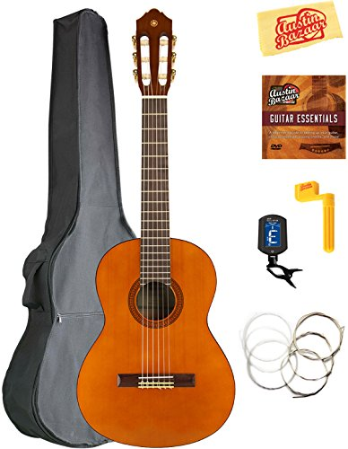 Yamaha CGS102A 1/2-Size Classical Guitar Bundle with Gig Bag, Tuner, Strings, String Winder, Austin Bazaar Instructional DVD, and Polishing Cloth