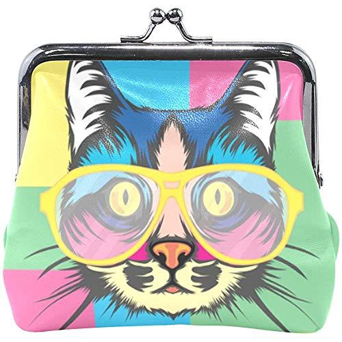 Brieftasche Kunst Katze Mit Brille Bunte Quadrate Münz Geldbörse Beutel Leder Wechselhalter Karte Clutch Handtasche
