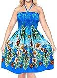 Encubrir Maxi Vestido de Verano Vestido de Cuello Halter para Mujer Ropa de Playa de la Falda de Tubo Azul Aloha Midi