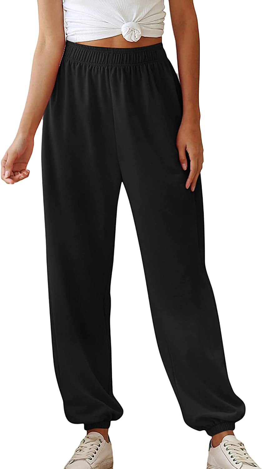 Lu's Chic Women's High Waisted Joggers Baggy Sweatpants Long Casual Active Loose Fit Pants