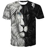 sportbull Lion Face Tshirt for Men 3D Printing Black White Animal Print Shirt (XL, Black and White Lions T-Shirt)