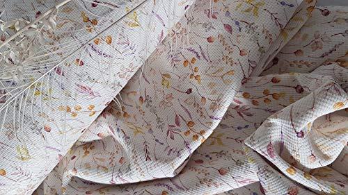 Generisch Manufaktur Herzstücke - Tela de piqué con diseño de flores, algodón, por metro, ropa de bebé, ropa infantil, 1,50 m de ancho, certificado Öko-Tex Standard 100