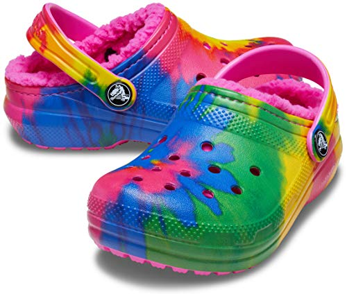 Crocs Kids' Classic Tie Dye Lined Clog | Warm and Fuzzy Slippers for Kids, Electric Pink/Multi, J1 US Little Kid
