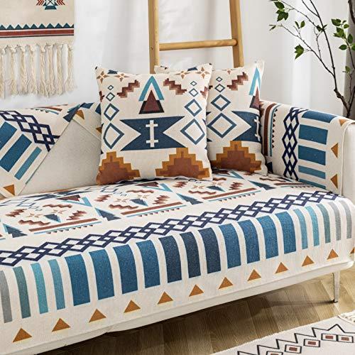 AIKES Modelo Diseñada Chaise Longue Funda Sofa Ajustables para Salon,La Funda para Sofa Lino Fundas para Sofa,Sin Resbalón Lavabile Cubiertas De Couch para Perros-Azul 85 * 90cm 1pcs