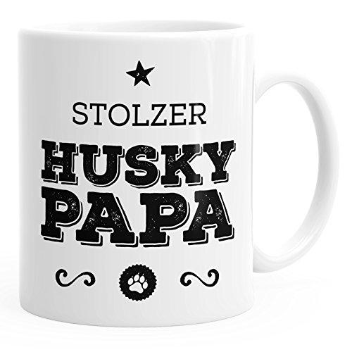 MoonWorks Kaffee-Tasse Stolzer Husky Papa Husky Besitzer Hundebesitzer weiß Unisize
