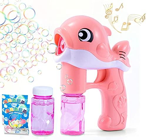 Maquina Burbujas Niños,Máquina de Burbujas de Jabon Automática,Pompas Jabon,Máquina de Burbujas,Pistola de Pompas de Jabón Niños para Fiesta de Cumpleaños,Halloween,Bodas,Niños y Adultos-Rosa