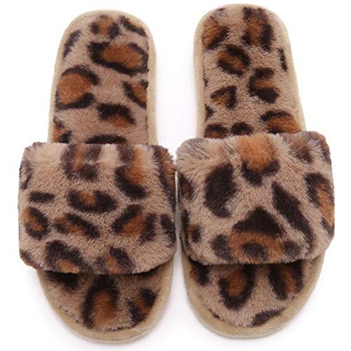 KRILY Cálido Mullido Pantuflas Flip Flop Zapatillas Interior Plana Mujer para Casa Zapato Antideslizante Pantuflas en Felpa Mujer Slippers Interiores y Exteriores,Marrón,38