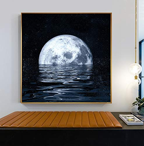 xinyouzhihi Lunar Eclipse Poster drucken Bild Leinwand Malerei für Schlafzimmer nach Hause Wanddekoration Malerei 60x60cm Kein Rahmen