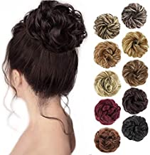 MORICA 1PCS Messy Hair Bun Hair Scrunchies Extension Curly Wavy Messy Synthetic Chignon for women Updo Hairpiece (Dark Brown)