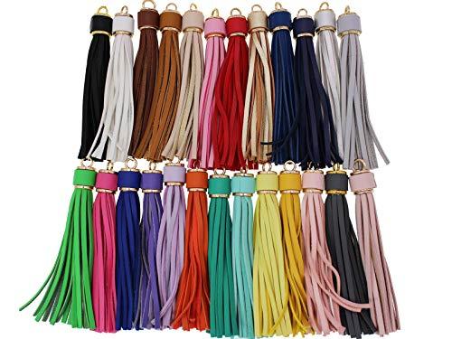 5.9'' 25pcs Beautiful Multi-Color PU Leather Tassels For Handbag, Phone, Jewelry DIY GD189 (25 Colors Mixed)