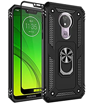 Moto G7 Power Case Moto G7 Supra Case Sunbrightful Military Grade Drop Protection Defender Kickstand Case with Tempered Glass Screen Protector for Moto G7 Power - Black