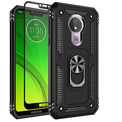 Moto G7 Power Case, Moto G7 Supra Case, Sunbrightful Military Grade Drop Protection Defender Kickstand Case with Tempered Glass Screen Protector for Moto G7 Power - Black
