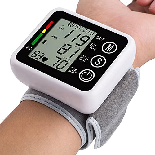 SJTL Tensiómetro de Brazo, Monitor de la presión Arterial, Tensiómetro de Brazo Digital LCD, Pulsera Grande,Detección de Frecuencia Cardíaca Irregular 2 memorias Usuario (2 * 90)