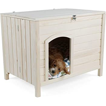 Petsfit Portable Folding Wood Dog House, No Tools Required for Assembly