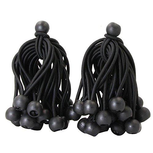 Joneaz Ball Bungee 4 Inch Black Tie Down Cord 0.8 Inch Ball, 50-Piece, UV Resistant…