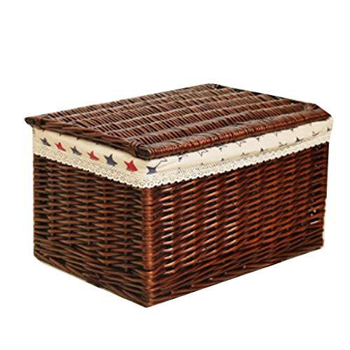 La caja de almacenamiento de mimbre de la cesta del almacenamiento con la tapa, cajón de la caja de almacenamiento de la rota viste la caja de almacenamiento del juguete (Color : Brown B)