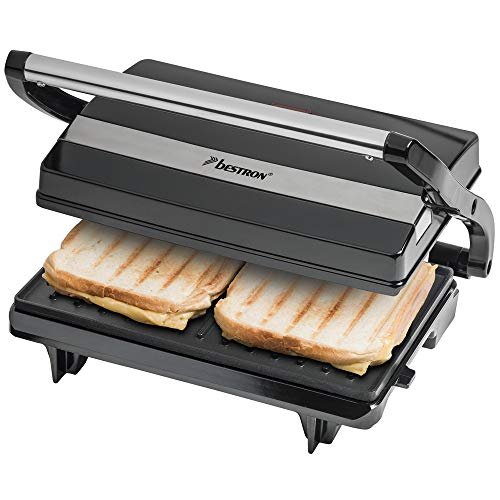 Bestron Antihaftbeschichteter Sandwich-/Panini-Kontaktgrill, 700 W, Schwarz