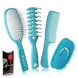 Set cepillos y peine para el pelo desenredado de plástico color azul. Perfecta para extender la crema bajo la ducha. Idea regalo mujer.