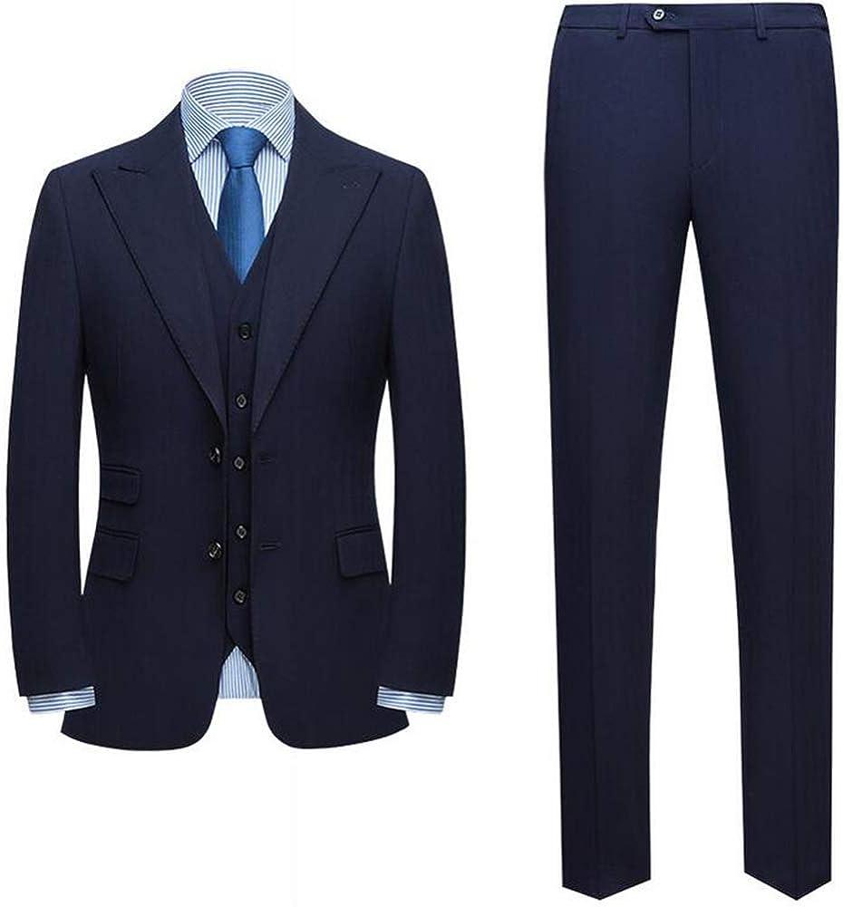 Slim Fit Men's Peak Lapel Two Button 3 Pieces Formal Party Suit Wedding Groom Tuxedo