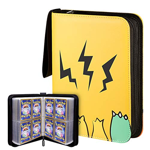 Geecow 4-Pocket Binder Compatible with Pokemon Cards, Portable Storage Case with Removable Sheets Holds Up to 400 Cards-Toys Gifts for 3-8 Year Old Boys Girls Yellow