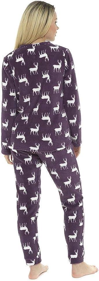 Ladies Women Winter Fleece Fluffy Warm Cosy Soft Teddy Sherpa Fleece PJs Pyjamas