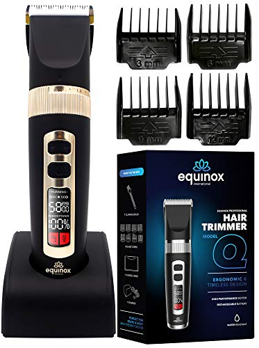 Equinox International Hair Trimmer Beard Trimmer, Rechargeable Trimmer for Men, Cordless Hair Clippers, Hair Cutting Kit with 8 Guards, Lightweight Professional Hair Clippers for All Hair Types